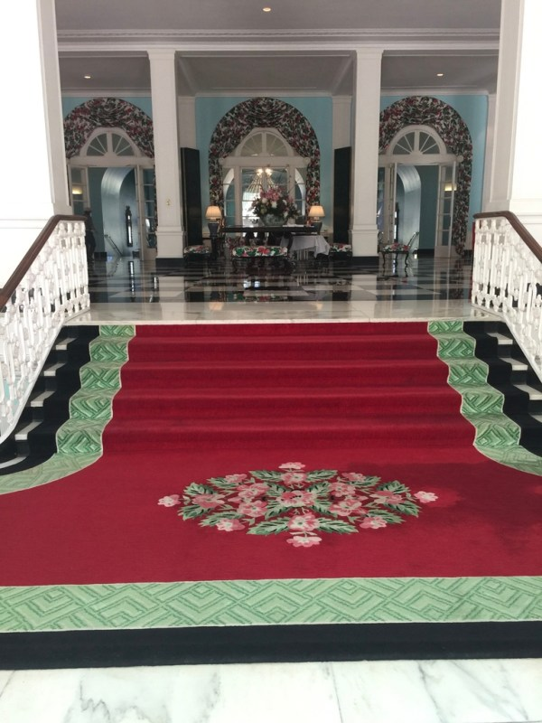 Greenbrier Resort staircase is the first thing ou see as you come through the door.