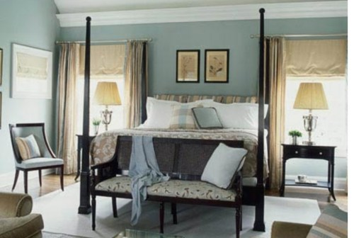bedroom with bench at the foot of the bed.