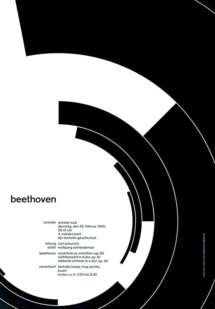 Beethoven Concert Advertisement, Josef Müller-Brockmann