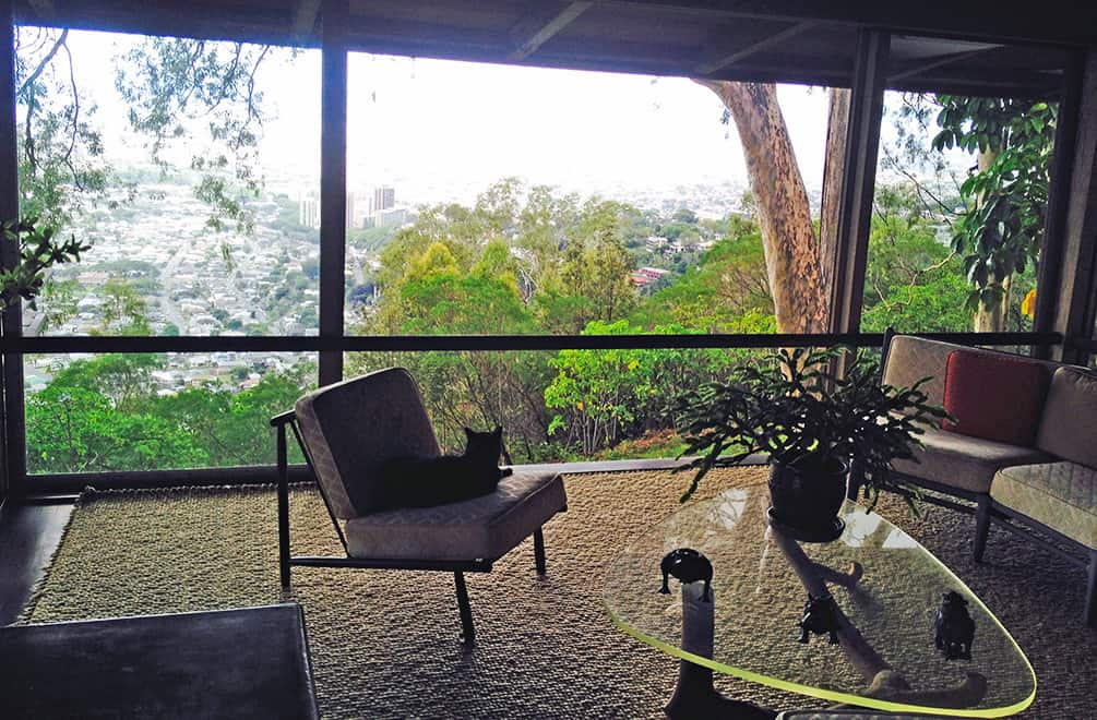 view from the living room of Liljestrand House, looking down at Honolulu