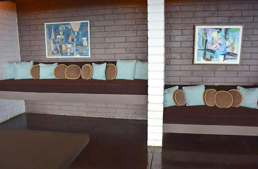 Staggered sofas in the Liljestrand House Rec Room