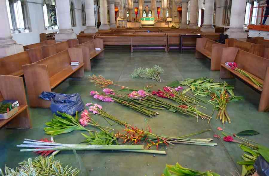St. Andrew's cathedral with flowers