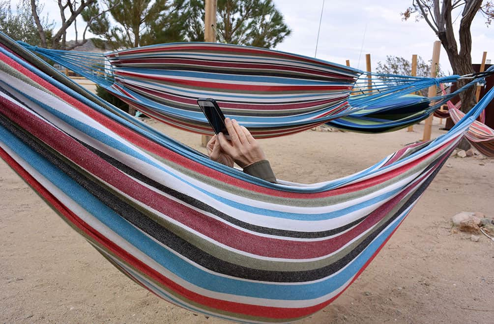In a hammock with my phone at the Integratron