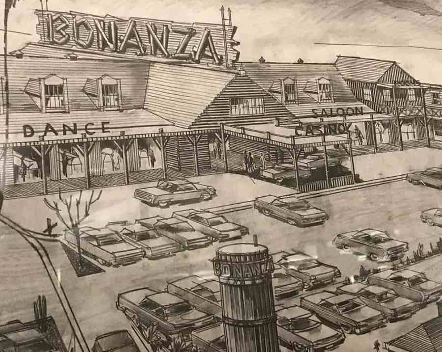 Architectural sketch of Bonanza by Homer Rissman