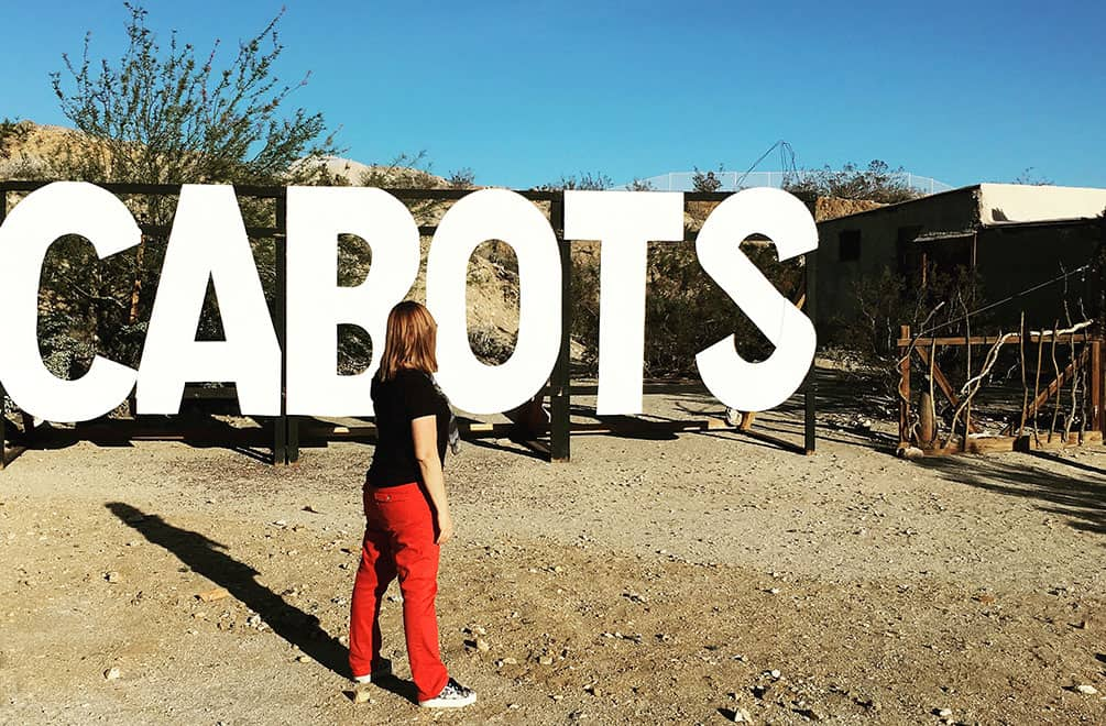 Cabot sign and me at Cabot's Pueblo Museum