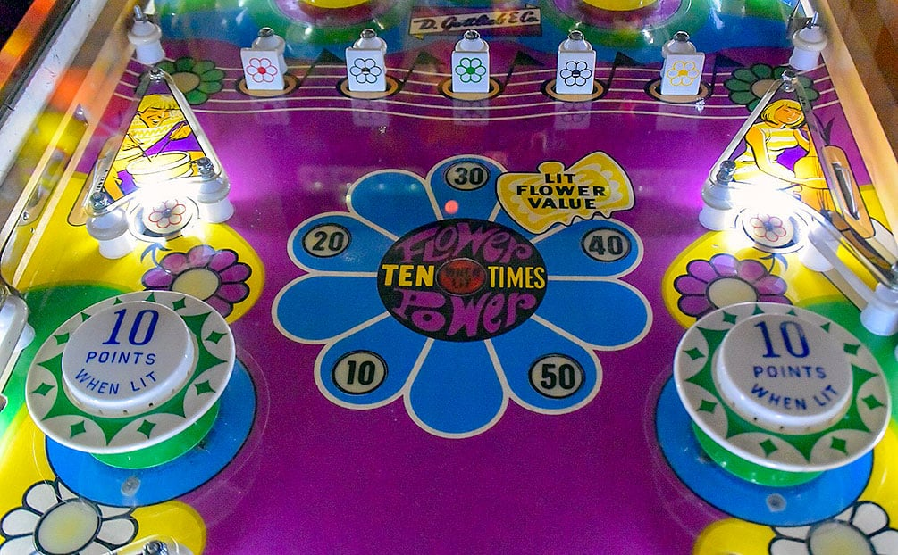The play field of the pinball game Crescendo at the Pinball Hall of Fame