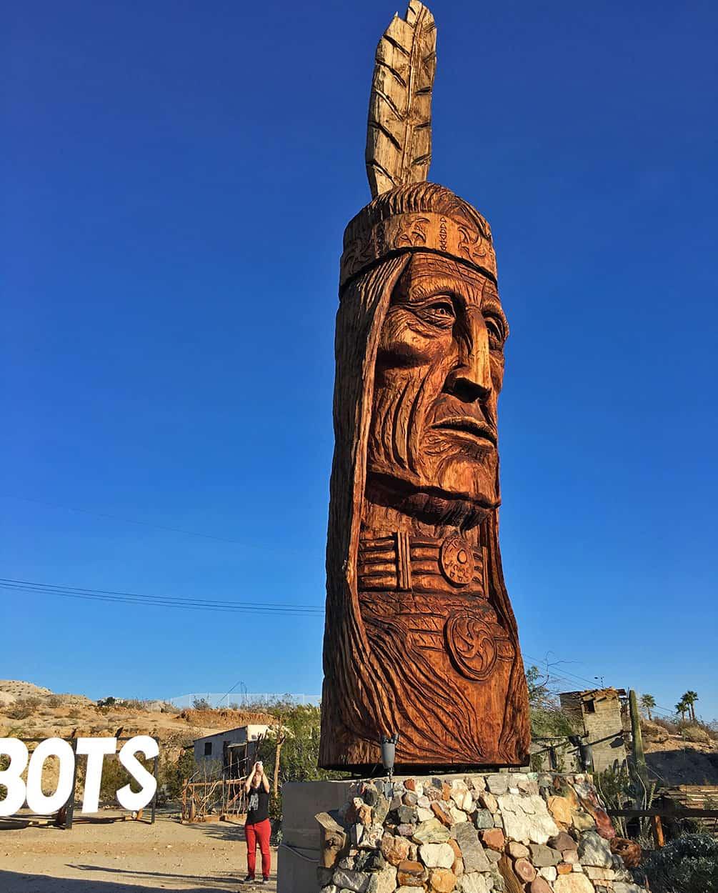 Waokiye sculpture at Cabot's Pueblo Museum