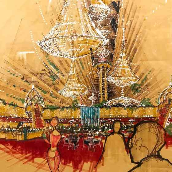 Architectural sketch of Xanadu by Martin J. Stern