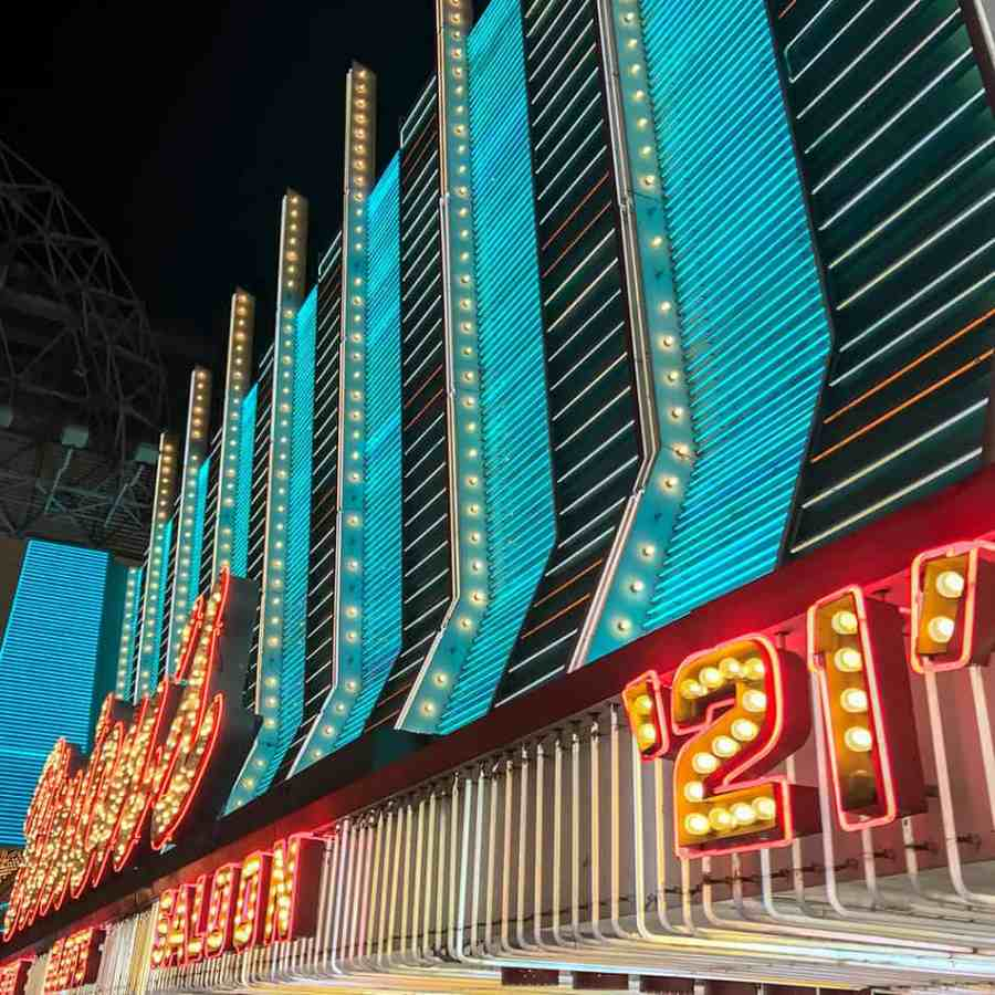 Binion's neon sign closeup