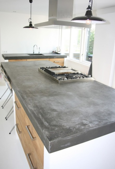 Kitchen Benchtops Costings - Kitchen with concrete top on IKEA cabinets with Koak Design wooden fronts | designlibrary.com.au
