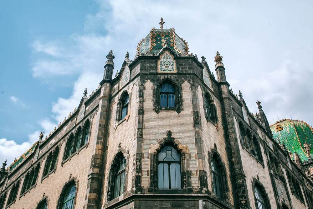 museum of applied arts under blue cloudy sky in town