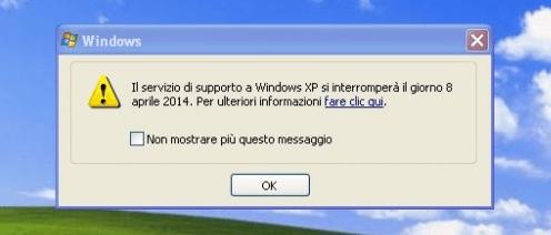 Il supporto ufficiale a Windows XP è terminato definitivamente l'8 Aprile scorso