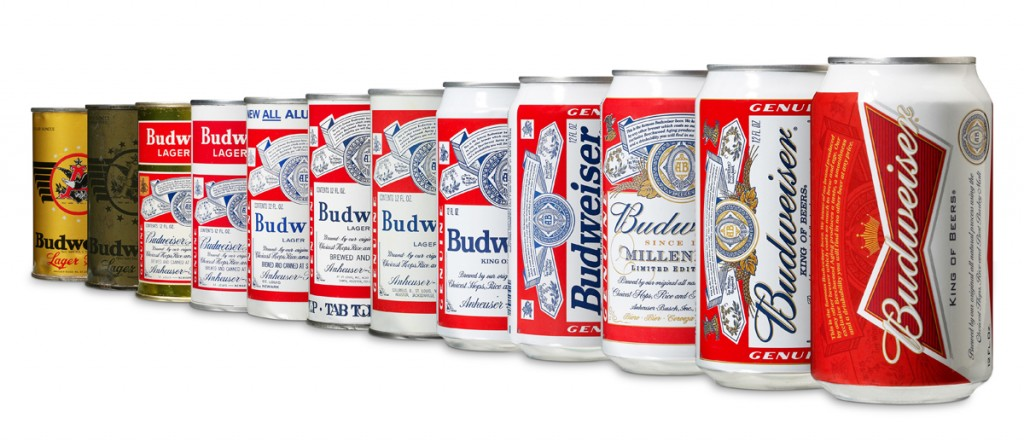 Budweiser cans through the ages, finishing with the 2011 version. The Budweiser 'creed' (its famous promise of quality) appears above the wordmark on each one