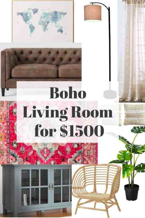 Do you want to redecorate your living room in a boho style but you don't have the budget?  Here's a complete bohemian style living room for under $1500