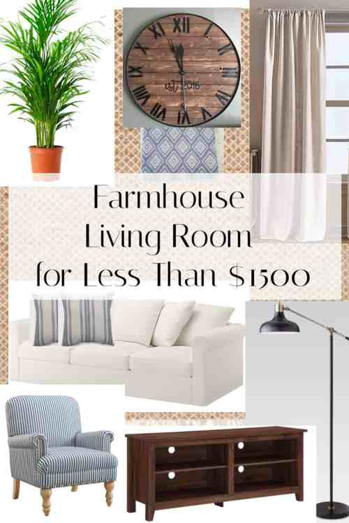 Complete Farmhouse living room for less than $1500.  You can get the farmhouse look without spending a lot