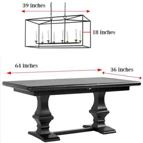chandelier size over rectangular table