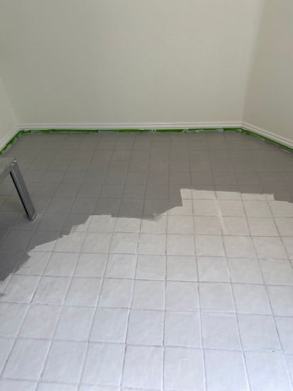 paint tile floors with chalked paint