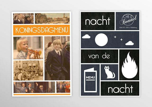 cafe bommel menukaarten nacht van de nacht koningsdag