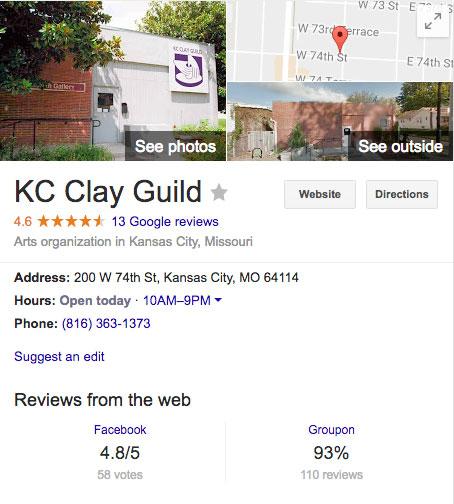KC Clay Guild Google Reviews Screenshot