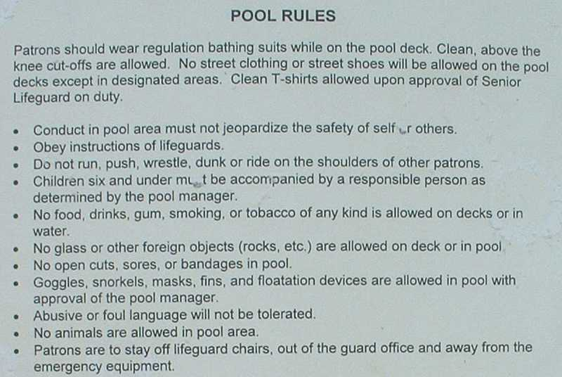 Rules and regulations of swimming pool water safety akop for Pool design rules