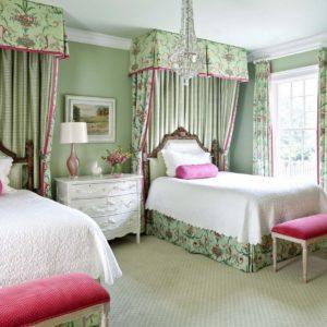 bedroom design using soft green wall