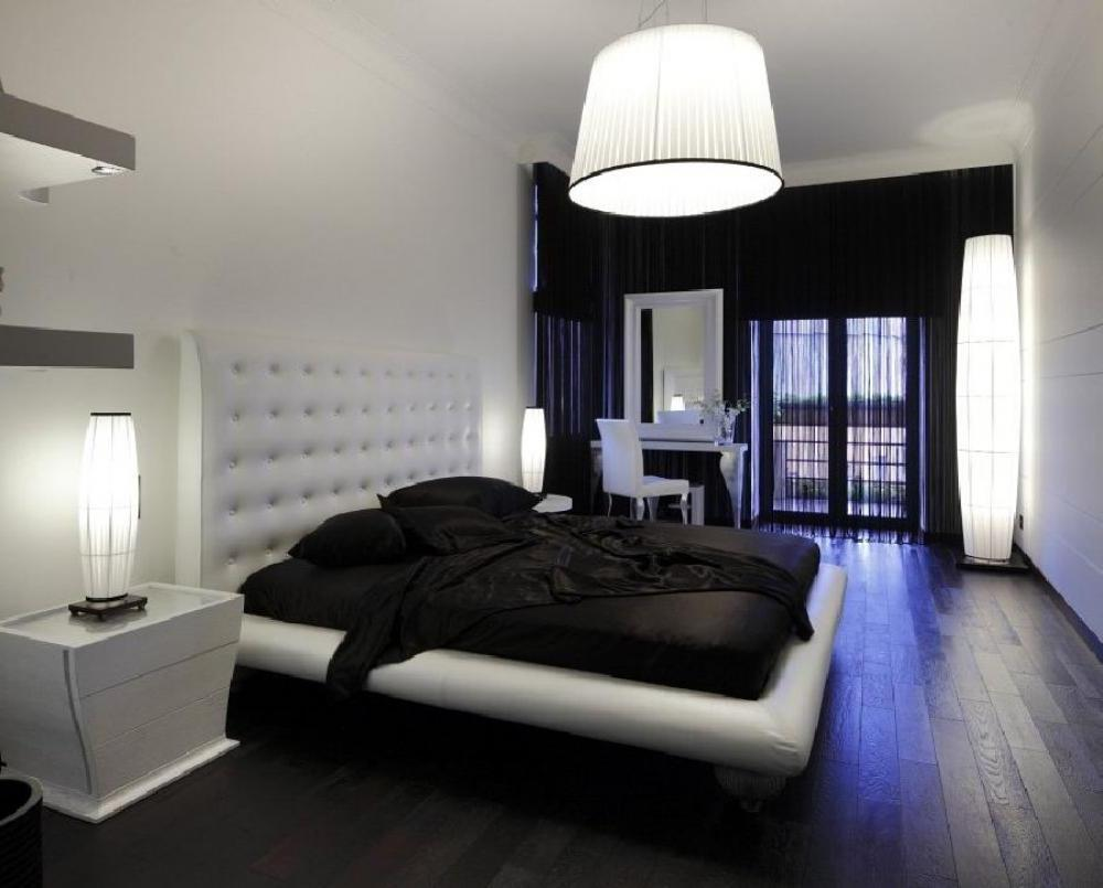 Black and white combination of furniture and walls