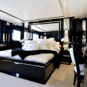 Master bedroom design with black and white