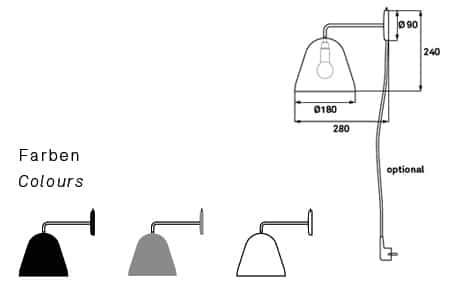 Technische Zeichnung der Wandleuchte Nyta Tilt Wall Kabel