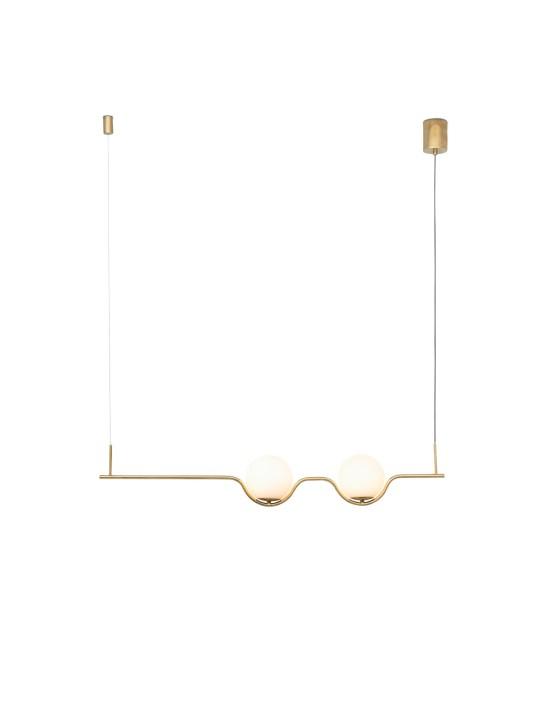 Zweiflammige goldene Leuchte mit Glasdiffusor von Faro Barcelona