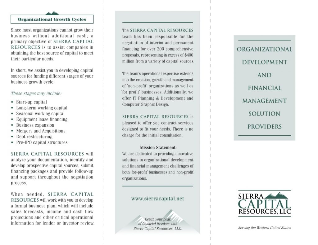 Brochure Design - Sierra Capital Resources - Outside