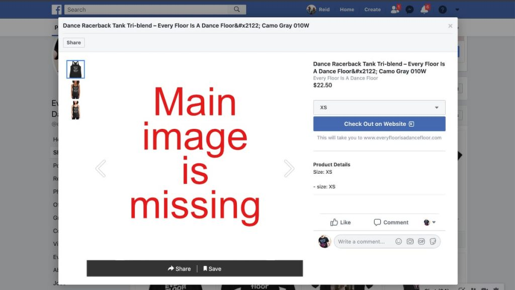 Missing Main Product Images In Facebook Shop