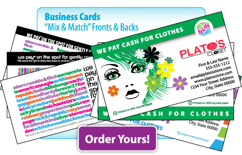Web graphics - Plato's Closet custom business cards