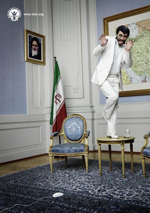 Mahmoud Ahmadinejad and the mouse in ISHR Scared Dictator poster