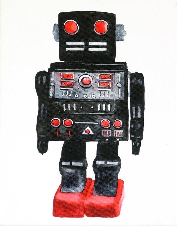 I am a robot 2011, water colour, canvas, 30x24 cm