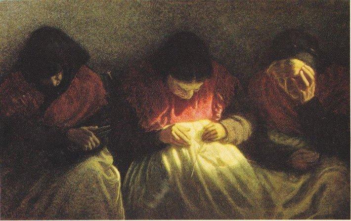 Angelo Morbelli: Le parche, 1904. Collezione privata