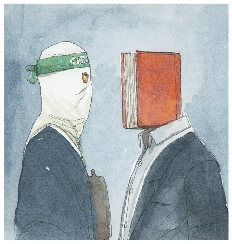 illustrazione per La lingua ai tempi della Jihad - articolo di Salman Rushdie, 2014 © Gipi