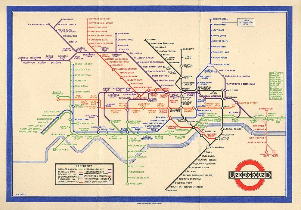 Harry Beck,  Mappa della metropolitana di Londra del 1933.