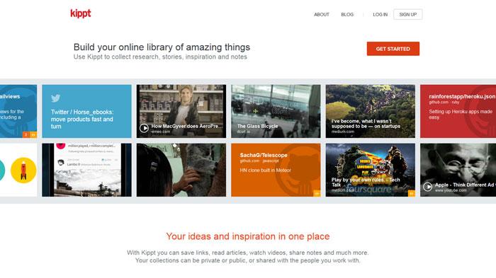 kippt.com Flat Web Design Inspiration