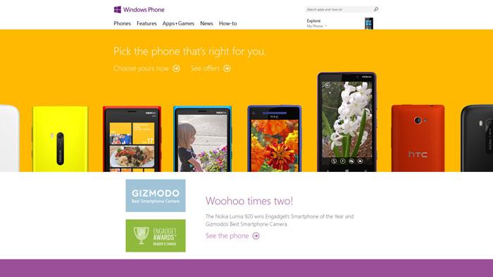 windowsphone.com Flat Web Design Inspiration