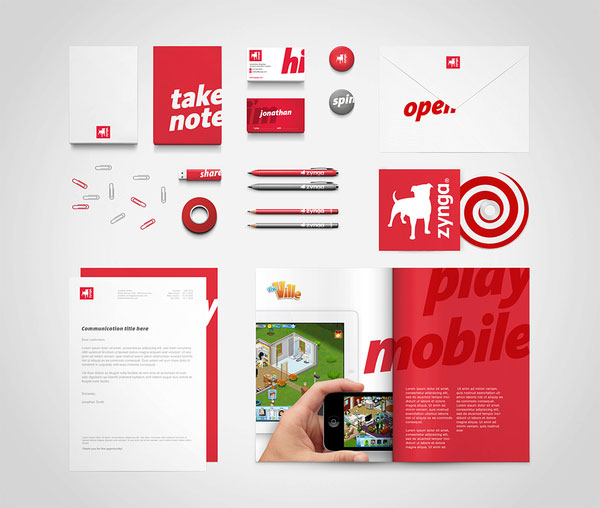 Zynga stationery set design Print Design Inspiration