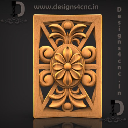 Flower panel 3d model relief file