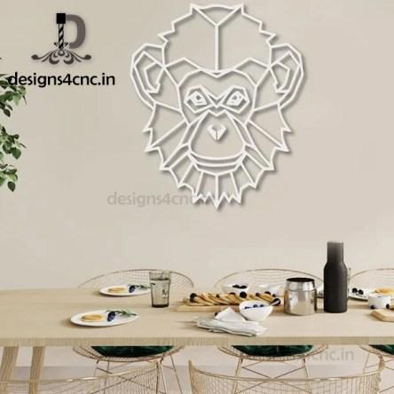 Monkey Geometric Head Metal Wall Art Home Decor