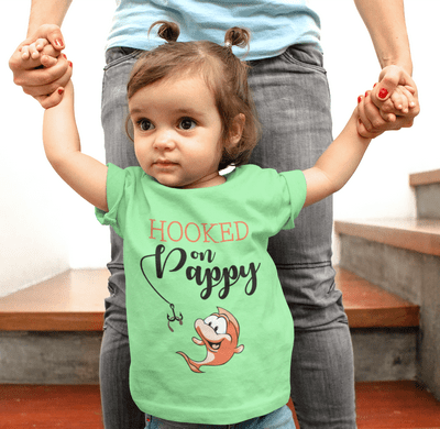 Hooked on Pappy Grandfather Cute Cartoon Fish T-Shirt Design