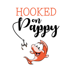 Hooked on Pappy Shirts | Grandfather Cute Cartoon Fish T-Shirt Design