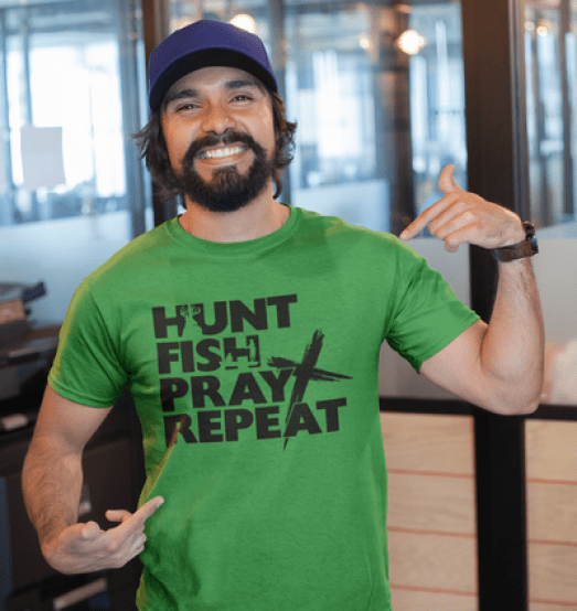 Hunt Fish Pray Repeat T-Shirt Design Religious Dad Shirt Father's Day Shirt