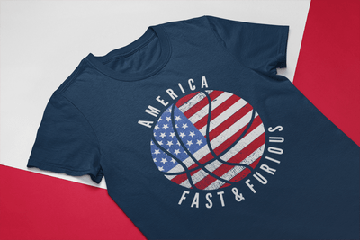 USA Flag Patriotic America Fast & Furious Basketball Design
