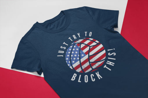 Patriotic Volleyball USA Flag America Block This T-shirt design