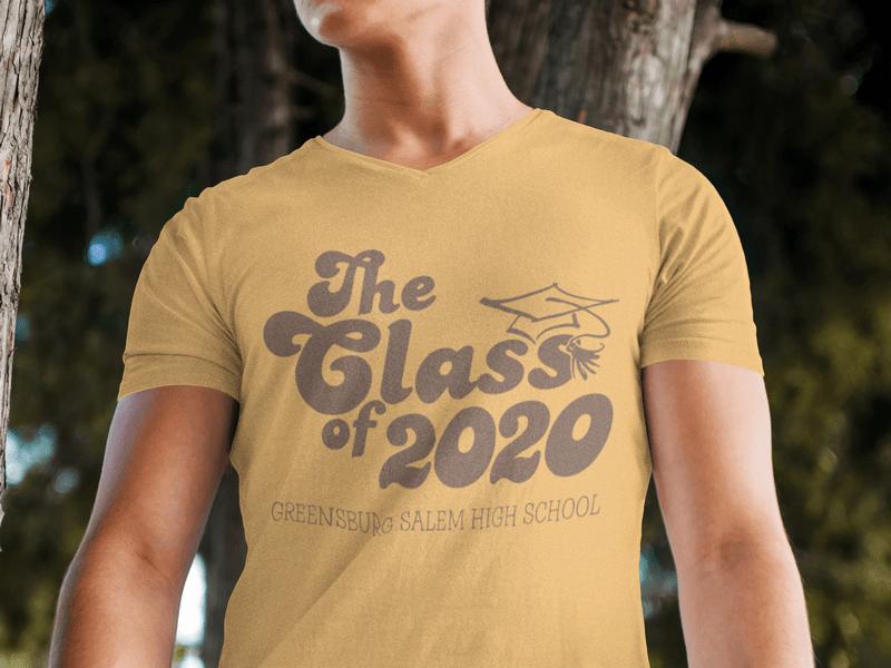 Retro Seniors Graduation Class of 2020 Custom T-Shirt Design Template
