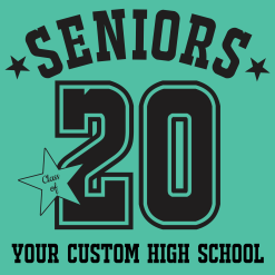 Custom Senior Class T-Shirts - Class of 2020 Graduation Year Athletic Number Custom T-Shirt Design Template - free t-shirt design downloads