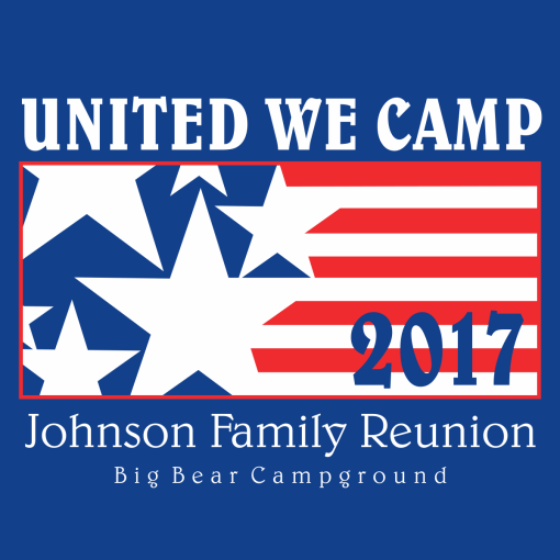 United We Camp Family Reunion Shirt Designs | Patriotic Flag Red White & Blue Camping T-Shirt Design Template